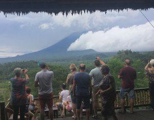 Clouds shroud Mt. Agung Volcano