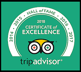 Trip Advisor Hall of Fame Badge 2018