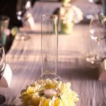 Flowers decorate the tables
